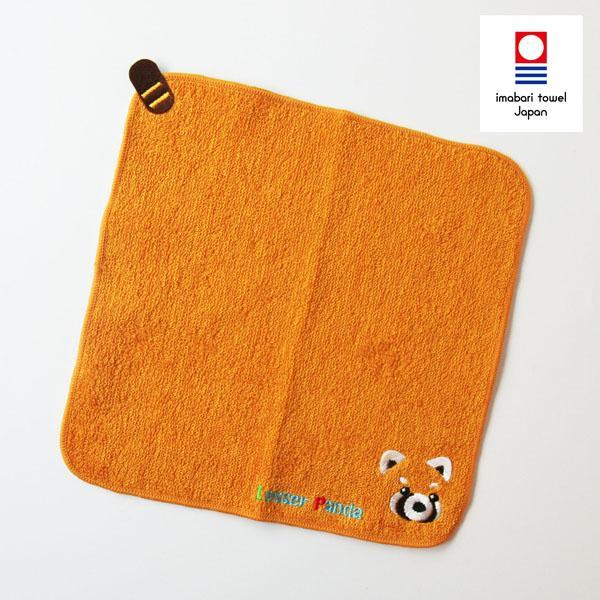 【今治タオル】<br>レッサーパンダハンカチタオル オレンジ (1-61797-86-OR)