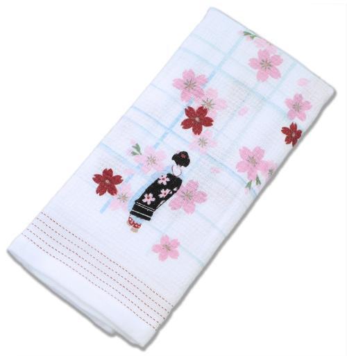布ごよみ フェイスタオル 舞妓とサクラ ピンク 30909 (33×100cm)