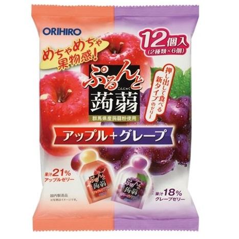 [オリヒロ]<br>ぷるんと蒟蒻ゼリーパウチ アップル&グレープ 20g×12個入