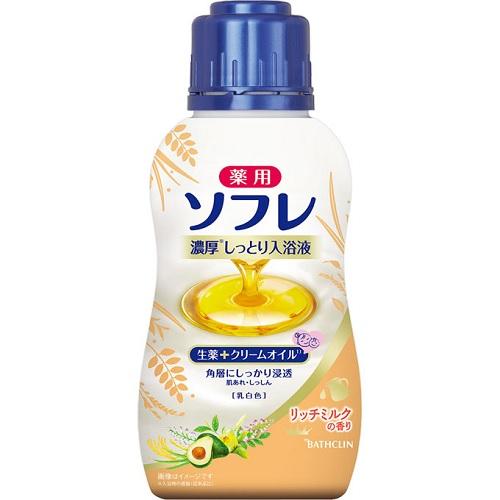 [バスクリン]<br>薬用ソフレ 濃厚しっとり入浴液 リッチミルクの香り 480mL